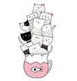 cute baby cat with cup hand drawn style for vector image vector image