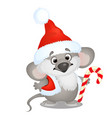 cute koala bear in hat of santa claus with sweet vector image vector image