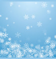 falling white snowflakes on blue background blue vector image vector image
