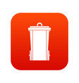 garbage bin icon digital red vector image vector image