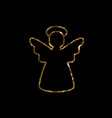 golden glitter christmas angel line icon vector image vector image