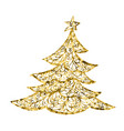 golg christmas tree card drawing christmas vector image vector image