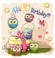 greeting card cute five owls vector image vector image