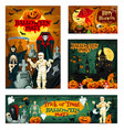 halloween night trick or treat horror party banner vector image vector image