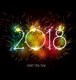 happy new year 2018 fireworks colorful vector image vector image