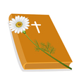 Holy bible with wooden cross and daisy flower vector | Price: 1 Credit (USD $1)