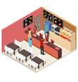 interior fast food restaurant isometric view vector image
