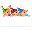 kids celebrating birthday party with holding blank vector image vector image