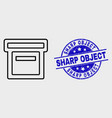 linear box icon and grunge sharp object vector image vector image