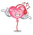 listening music ballon heart mascot cartoon vector image