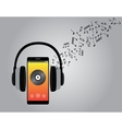 listening music with cellphone smartphone and vector image