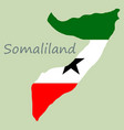 map of somaliland with flag vector image vector image