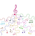 multicolored musical notes and a treble clef vector image vector image