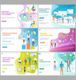 organization of working process website page set vector image