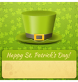Patricks Day Card Green Hat vector image vector image