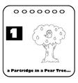 Patridge in a pear tree cartoon vector image vector image