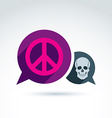 Peace against war icon with death skull conceptual vector image vector image