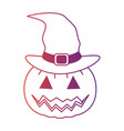 pumpkin hallooween with hat witch decorative icon vector image vector image