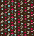 rabbits mushrooms and apple pattern vector image vector image