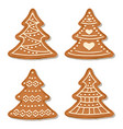 realistic gigngerbread christmas treel collection vector image vector image