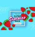 red strawberry super summer sale banner in paper vector image vector image
