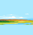 river valley forest landscape background vector image vector image