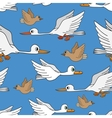 Seamless background Birds flying in the sky vector image