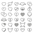 set 30 simple icons hearts for valentines day vector image