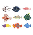 set exotic tropical marine aquarium colorful vector image vector image