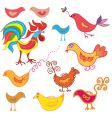 set of funny birds vector image vector image