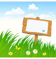 signboard in the grass vector image vector image