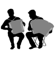 Silhouette of two musicians bayan on white vector image vector image