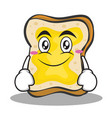 smile face bread character cartoon vector image vector image