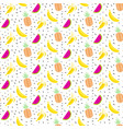 summer fruit salad pattern with bananas vector image vector image
