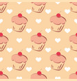 tile pattern with cupcake and hearts vector image vector image