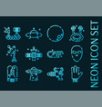 ufo set icons blue glowing neon style vector image