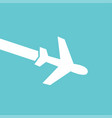 white airplane icon on blue background in flat vector image vector image
