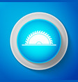 white circular saw blade icon on blue background vector image