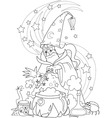 wizard making a potion vector image vector image