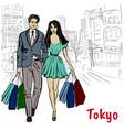 woman and man in tokyo vector image vector image