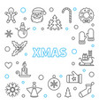 xmas outline frame merry christmas vector image vector image