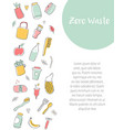zero waste banner with hand drawn elements vector image