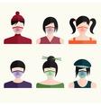 flat design set japanese girls in medical masks vector image