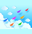 airplanesblue sky and clouds vector image vector image