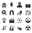 basic electricity icons set vector image vector image