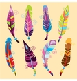 Bright colored feathers with beads vector image vector image