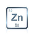 chemical element zinc from the periodic table vector image vector image