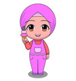 chibi muslim female cartoon characters happy vector image vector image