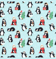 christmas penguins seamless pattern vector image