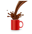 coffee is splashing in red mug vector image vector image
